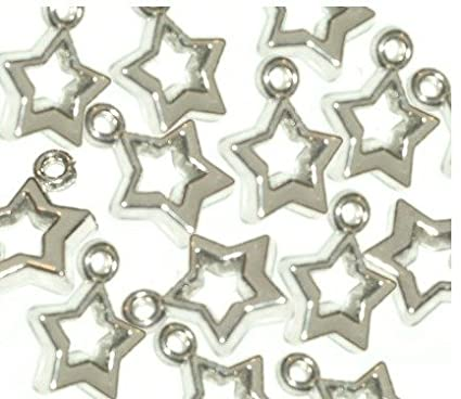 20 Silver Tone STAR Charms for LOOM BAND BRACELETS ~ Just Say Beads