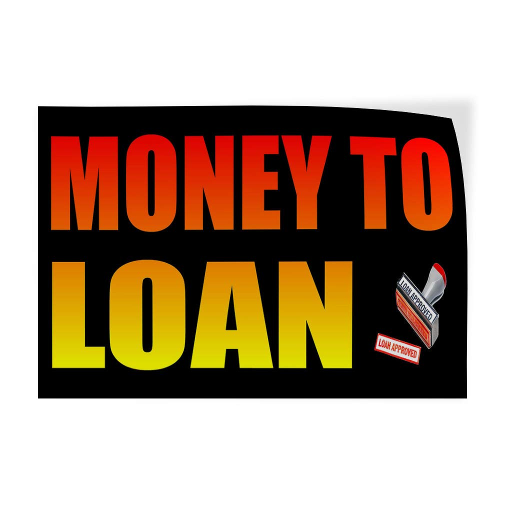 Set of 2 52inx34in Decal Sticker Multiple Sizes Money to Loan Black Red Yellow2 Business Money Outdoor Store Sign Red