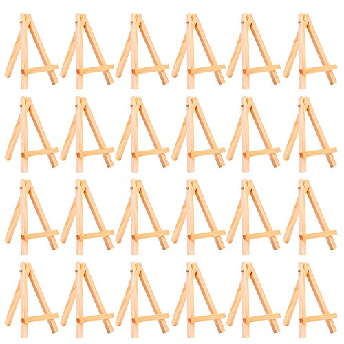 eBoot 24 Pack Mini Wood Display Easel (5 Inch)