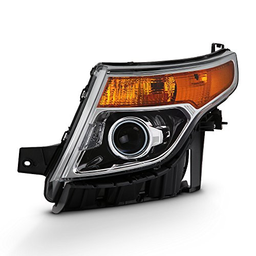 - For 2011-15 Ford Explorer Driver Side Only Projector Headlight Assembly Chrome Housing Clear Lens