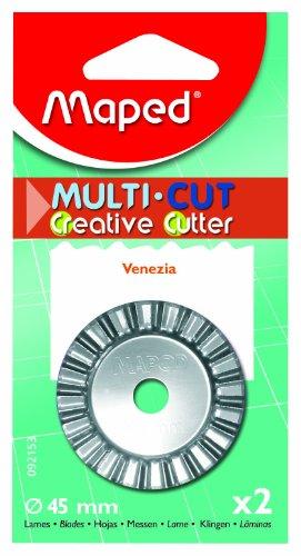 Cut Multi Trimmer Paper (Maped Replacement Rotary Blades for Multi-Cut Paper Trimmer, Venezia Cutting Shape, 45 mm, 2 Blades per Pack, Silver (092153))
