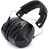 Ear Defenders - Compact Foldable Comfortable & Adjustable Hearing Protection - Ear Protectors Shooting Ear Muffs - Great for Men Women Adults Kids Children - Noise Reduction for Construction & Yard Work Loud Noises Mowing the Lawn Concert Fireworks Drums Autism Meditation - 2 Years Warranty - Black