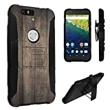 Nexus 6P Case, DuroCase ® Hybrid Dual Layer Combat Armor Style Kickstand Case w/ Belt Clip Holster Combo for Huawei Google Nexus 6P (Released in 2015) - (Printed Vintage Wood Pattern)
