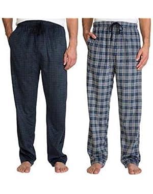 Men's 2 Pack Soft Suede Fleece Pajama Pants Bottoms