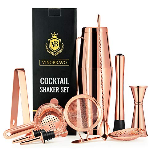 11-Piece Bartender Kit Boston Cocktail Shaker Bar Set by VinoBravo : 2 Weighted Shaker Tins, Strainer Set, Double Jigger, Bar Spoon, Ice Muddler & Tong, 2 Liquor Pourers & Recipe Guide (Rose Copper)