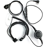 GoodQbuy® Professional Tactique Military Police FBI Bodyguard Flexible Throat Mic Microphone Large Armpit PTT Covert Acoustic Tube Earpiece Headset With Finger PTT for Motorola Radio Devices