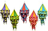 5pcs-25pcs Indian Ethnic Hanging Lamps shades Patchwork Mirror Work Home Decor 3 Layer