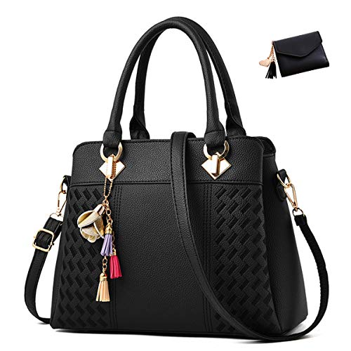 Mazzamax Women's Purses and Handbags PU Shoulder Bags plus Wallet (black)