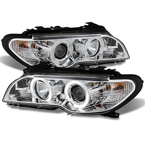 For BMW E46 3-Series 2 Doors Coupe Black Halo Ring LED Projector Replacement Headlights LH/RH Lamps