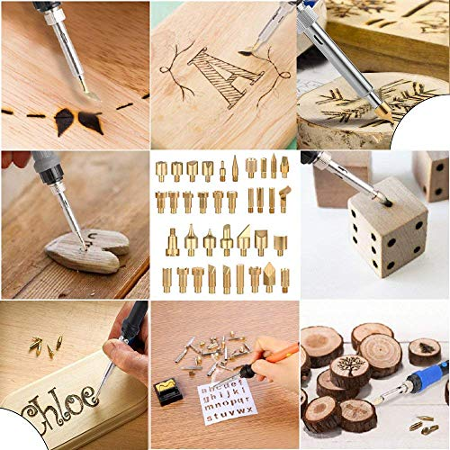 Soldering ASSR 71Pcs Wood Burning Kit Adjustable Temperature Soldering Iron Pens Set Professional Pyrography Tool Set with 54 Engraving HAeads for Embossing
