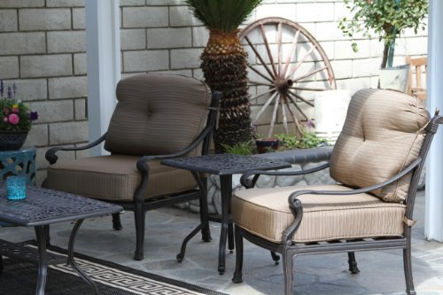 - Heritage Outdoor Living Flamingo Cast Aluminum 3pc Outdoor Patio Club Chair Set with 21