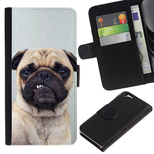 LASTONE PHONE CASE / Luxe Cuir Portefeuille Housse Fente pour Carte Coque Flip Étui de Protection pour Apple Iphone 6 4.7 / Pug Funny Dog Grey Button Ear Puppy