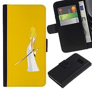 Planetar® Modelo colorido cuero carpeta tirón caso cubierta piel Holster Funda protección Para Samsung Galaxy S6 / SM-G920 ( Kill Ninja Art Sword Blond Woman Wedding )
