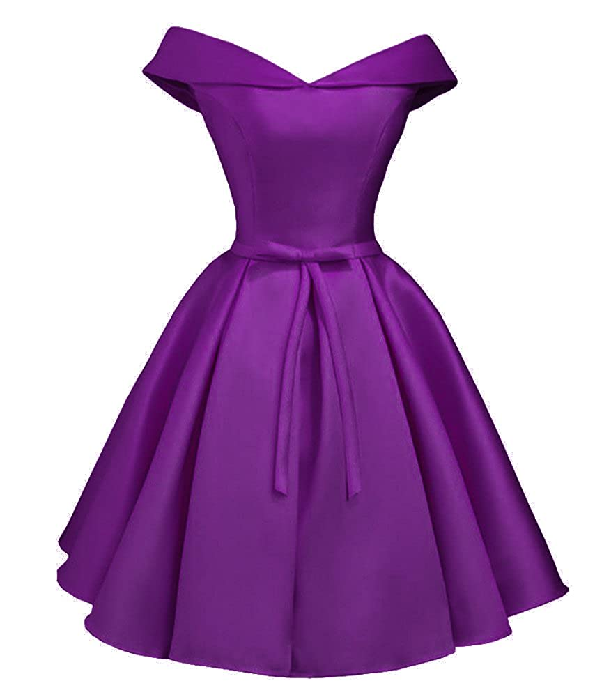 Purple Dressylady 2017 Simple A Line Off Shoulder Homecoming Dress Short Prom Bridesmaid