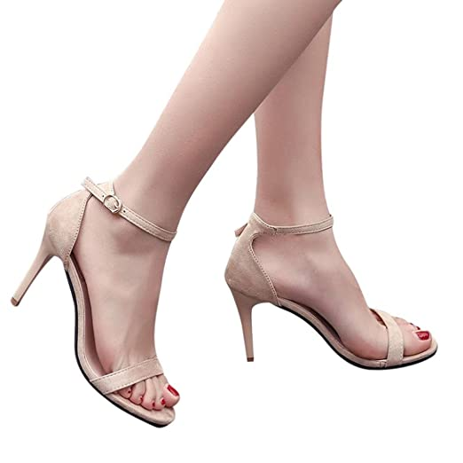 Baigoods Fashion Women Super High Ladies Sandals Ankle High Heels Elastic  and Block Party Open Toe 2306e00ee64a