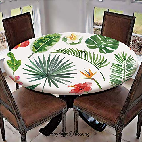 (Elastic Edged Polyester Fitted Table Cover,Diverse Collection of Leaves and Flowers From Tropical Lands Heliconia Philodendron,Fits up 40