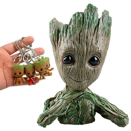 Groot Flowerpot Treeman Baby Groot Action Figures - Guardians of The Galaxy Flowerpot Baby Cute Model Toy Planter Pen Pot (4 Pack Free Original Keychain) (Groot Heart)