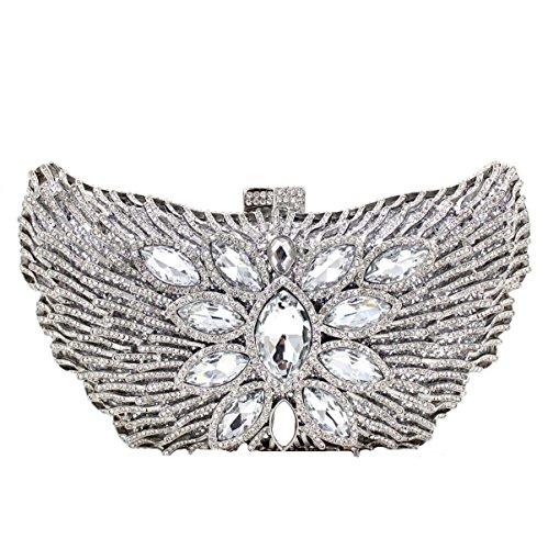Bolsa De Embrague Bolso De Noche De Lujo Cristal De Diamante De Las Mujeres Silver