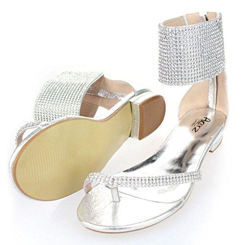 Aarz señoras de las mujeres de la tarde ocasional Comfort plana Diamante deslizador de la sandalia de los zapatos de Gladiador Tamaño (Negro, Plata, Oro, Champagne) Plata