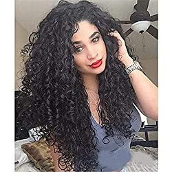 Mufly Black Lace Front Wigs Synthetic Lace Curly Natural Wigs With Baby Hair Synthetic Hair Full Lace Heat Resistant Replacement Afro Kinky Curly Wigs For Ladies (Black curly)