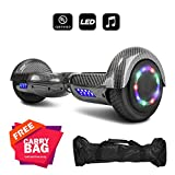 6.5' inch Wheels Electric Smart Self Balancing Scooter Hoverboard with Speaker LED Light - UL2272 Certified (Carbon Fiber Design Black)