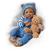 19'' Waltraud Hanl Weighted and Poseable Baby Boy Doll with Plush Bear by The Ashton-Drake Galleries