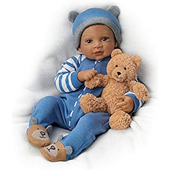"""19"""" Waltraud Hanl Weighted and Poseable Baby Boy Doll with Plush Bear by The Ashton-Drake Galleries"""