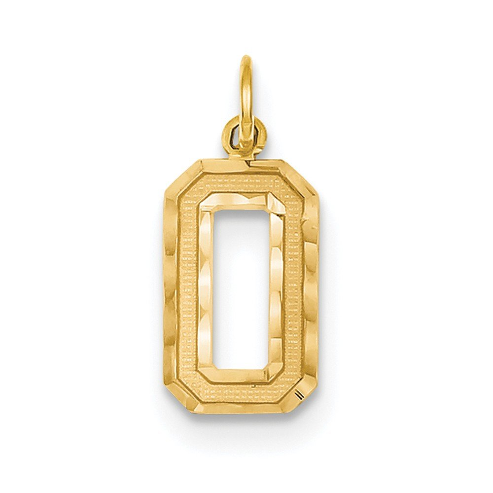 14k Yellow Gold Textured back Medium Sparkle-Cut Number 0 Charm - Measures 23.1x9.6mm