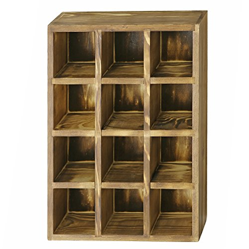 12 Compartment Torched Wood Freestanding or Wall Mounted Shadow Box, Display Shelf Shelving Unit by MyGift (Image #4)
