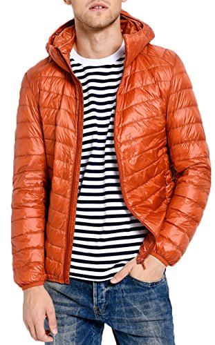 Ultra Doudoune Manteau Homme Capuche Blouson Pour Parka Légère Mochoose Hiver Orange À Longues Zippée Veste Manches AwWtd6Tq