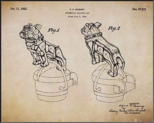 (Collectibles and Video Inc. 1932 Mack Truck Bulldog Radiator Cap Original Patent Poster - 11x14 Art Print Hood Ornament Frame - Great Gift Semi-Truck Drivers (Parchment) )