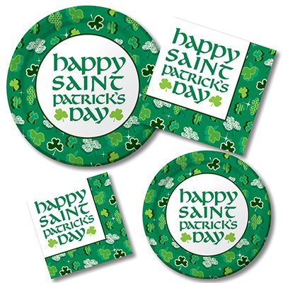 Happy St. Patrick's Day Shamrock- Plates & Napkins - 8 Guest Party Bundle - 4 Items: Dinner & Dessert Plates, Luncheon & Beverage Napkins