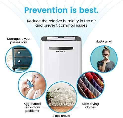 Pro Breeze Déshumidificateur Portable 20 L | 4 Modes de Fonctionnement | Affichage numérique | Evacuation Continue & Compresseur d'air | Fonction sèche-Linge et minuterie