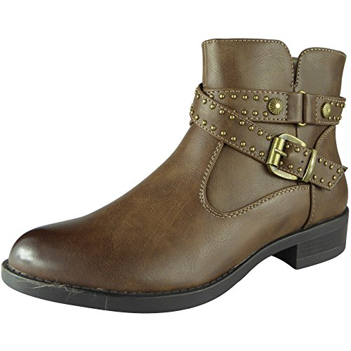 Loud Look New Womens Ladies Ankle Zip Stud Mid Heel Work Chelsea Winter Boots Shoes Sizes 3-8 Khaki 2f7y5cqVg