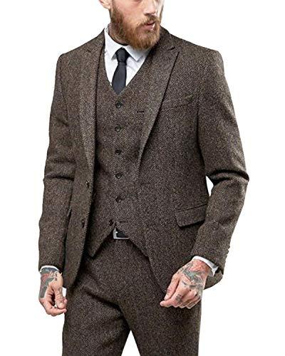 YBang Men's 3 Pieces Classic Woolen Herringbone Business Suit 6 Buttons Suit Vest Trousers WD072 ()