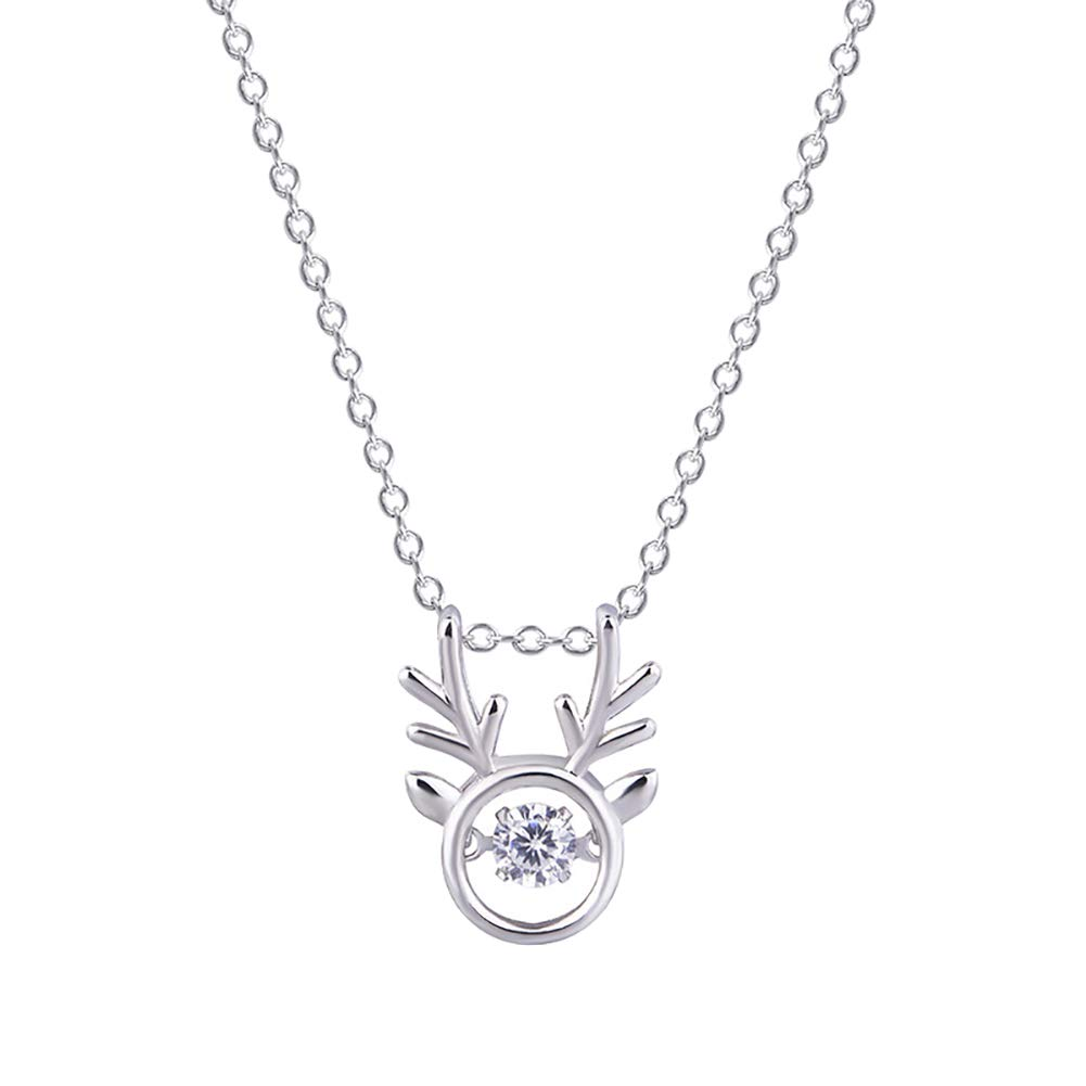 Doitsa 1pcs Weihnachten Fawn Heartbeat Halskette Spezielles Design Damen Halskette Anhä nger Schmuck Geschenk fü r Damen und Herren 40+5cm