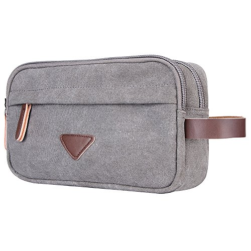Mens Toiletry Bag,Canvas Leather Travel Cosmetic Organizer Bag Shaving Dopp Kit Bag(Gray)