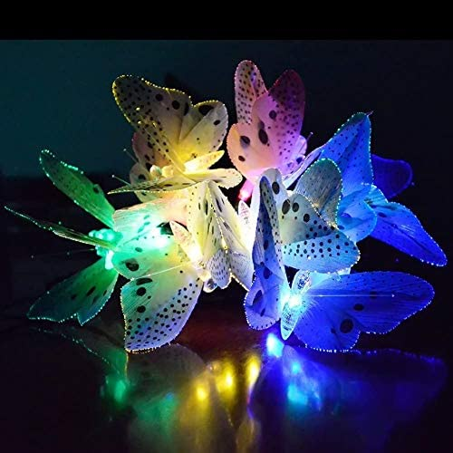 20 uds Luces LED Solares fibra óptica de mariposa Solares Patios Luz Solar para