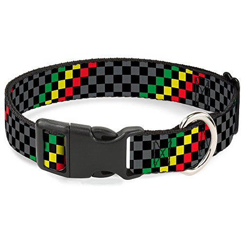 Buckle-Down Plastic Clip Collar - Checker Stripe Black/Gray/Rasta - 1