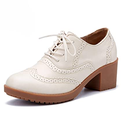 Zapatos para mujer HWF Zapatos Individuales Estilo británico Zapatos de Cuero Casuales de tendón de Carne