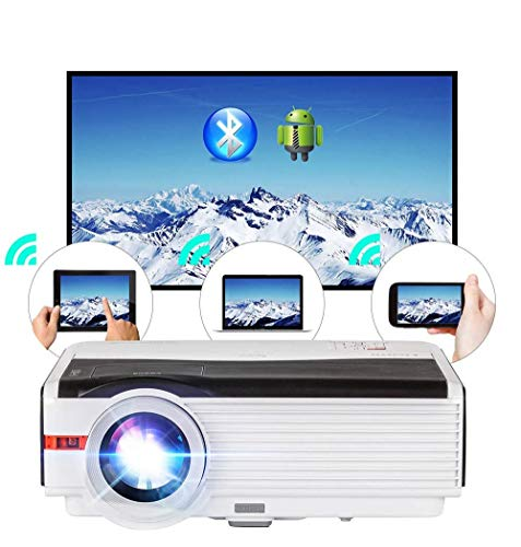 WiFi Projector Wireless Bluetooth HDMI 5000 Lumens HD 1080P Home Theater Wireless Airplay Screen Mirror, 2019 Android 6.0 LED LCD Multimedia Smart TV Video Projectors Outdoor Movie Gaming Proyector