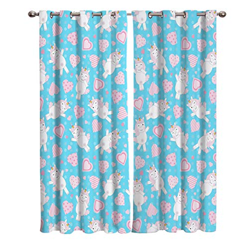 Blackout Window Kitchen Curtains Drapes, 2 Panels Set Window Treatment for Living Room/Bedroom/Office,Valentine's Day Friendship Romantic Unicorns Love Repeating Decorating Design, 55W by 39L inch