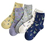 Crew Socks,5-pack Women Cacti Parttern Casual Socks Cotton Knitting Winter Fall Crew Socks Mix Color One Size