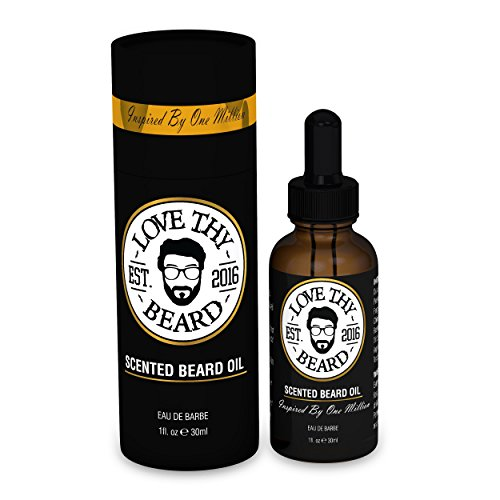 Love Thy Beard Scented Beard Oil - 1oz Eau de Barbe Inspired By Paco Rabanne One Million - Natural & Organic Oils For Mustache and Beard Growth & - For Best Style My Beard Face
