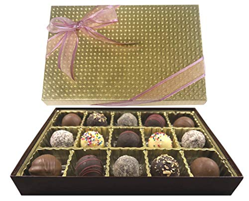 Mothers Day Chocolate Gift Box, Gourmet Truffles, Handcrafted in Small Batches, Made in USA, Gold Gift Box w/ Ribbon, 15 Assorted ()