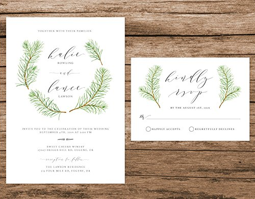 Watercolor Pine Tree Wedding Invitation, Pine Trees Invitation, Woodsy Wedding Invite, Rustic Forest Wedding Invitation by Alexa Nelson Prints