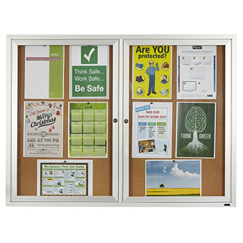 Quartet Enclosed Cork Indoor Bulletin Board, 4 x 3 Feet, Aluminum Frame (Enclosed Bulletin Board Cabinet)