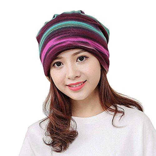 CHIY Women Stripe Hat Ruffle Cancer Hat Beanie Scarf Collar Turban Head Wrap Capnt Sleeping Cap ()