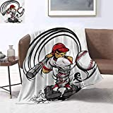 smllmoonDecor Teen Room Custom Design Cozy Flannel Blanket Baseball Cartoon Style Player Hitting The Ball Boys Kids Caricature Print Summer Quilt Comforter 50