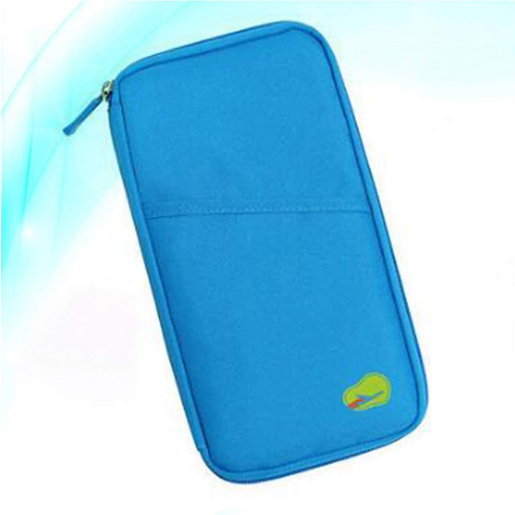 BESTOYARD Korean Style Passport Wallet Travel Mini Bag Multifunction Credit Card Package ID Holder Blue